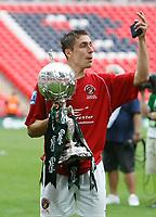 Photo: Steve Bond/Richard Lane Photography. <br />Ebbsfleet United v Torquay United. The FA Carlsberg Trophy Final. 10/05/2008. Scorer Chris McFee with the trophy