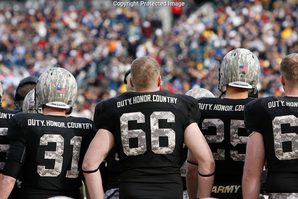 6 Dec 2008: An Army football player stands on the sideline during the Army / Navy game December 6th, 2008. At Lincoln Financial Field in Philadelphia, Pennsylvania.