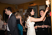 RIGHT: NATALIA BONDARENKO: ELIZABETH MESHKVICHEVA, Pedro Girao of Christies and Duncan Macintyre of Lombard Odier host the last dinner at the Old Annabels. 44 Berkeley Sq. London. 15 November 2018