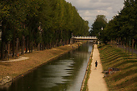 Bicycling along the Canal d'Ourcq, near Paris - ..Aulnay-sous-Bois...September 17, 2012..Photograph by Owen Franken for the NY Times