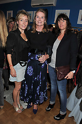 Left to right, PANDORA MERVYN-JONES, her mother LADY MARY GAYE CURZON and SOPHIE BROOKER at a private view of Nesta Fitzgerald's prints held at Selina Blow's store, Ellis Street, London on 27th September 2011.