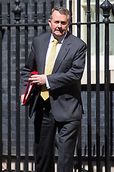 Secretary of State for International Trade Liam Fox leaves the weekly UK cabinet meeting at 10 Downing Street in London, May 01 2018.