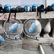 VENICE, ITALY - SEPTEMBER 18:  Police helmets and shields are seen at Rialto Bridge ahead of the Lega Nord political rally on September 18, 2011 in Venice, Italy. The Northern League rally is held to call for the independence of Northern Italy, during which the leader of Lega Nord pours water from the River Po in the north of Italy into the Venetian Lagoon as a symbolic rite known as Rito dell'ampolla.
