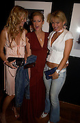 Melissa Odabash, Paris Hilton  and Diana Jenkins. 4 Inches, A  Photographic Auction in aid of the Elton John Aids Foundation hosted by Tamara Mellon and Arnaud Bamberger. Christie's. 8 King St. London. 25 May 2005. ONE TIME USE ONLY - DO NOT ARCHIVE  © Copyright Photograph by Dafydd Jones 66 Stockwell Park Rd. London SW9 0DA Tel 020 7733 0108 www.dafjones.com
