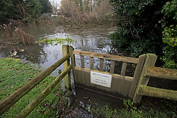© Licensed to London News Pictures. 01/02/2021. Wraysbury, UK.  Flood  Water from the the Colne Brook approaches residential properties near Wraysbury in Berkshire, as  large parts of the UK experience more wet conditions. Photo credit: Ben Cawthra/LNP