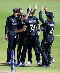 New Zealand's Tim Southee (second left) celebrates after taking the wicket of Bangladesh's Soumya Sarkar during the ICC Champions Trophy, Group A match at Sophia Gardens, Cardiff.