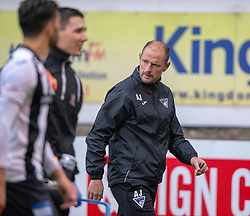 Dunfermline's manager Allan Johnston at the end. Dunfermline 2 v 2 Alloa Athletic. Alloa win on penalties. Irn Bru cup game played 13/10/2018 at Dunfermline's home ground, East End Park.