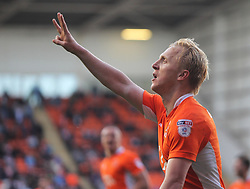 Mark Cullen of Blackpool celebrates scoring his sides third goal from the penalty spot to complete his hattrick - Mandatory by-line: Jack Phillips/JMP - 14/05/2017 - FOOTBALL - Bloomfield Road - Blackpool, England - Blackpool v Luton Town - Football League 2 Play-off Semi Final Leg 1