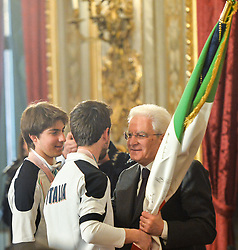March 27, 2018 - Rome, Italy - Giacomo Bertagnolli, Fabrizio Casal, Sergio Mattarella during ceremony of the return of the Italian flag by the athletes who participated in the Olympics Winter and Paralympic Games of PyeongChang 2018, Rome on march 27, 2018  (Credit Image: © Silvia Lore/NurPhoto via ZUMA Press)