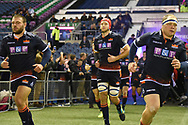 Edinburgh players take to the pitch for the Guinness Pro 14 2018_19 match between Edinburgh Rugby and Toyota Cheetahs at BT Murrayfield Stadium, Edinburgh, Scotland on 5 October 2018.