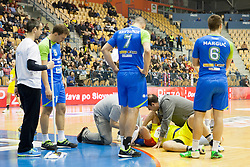 Naumche Mojsovski of F.Y.R. Macedonia injured during friendly handball match between National Teams of Slovenia and F.Y.R. of Macedonia before EHF EURO 2016 in Poland on January 5, 2016 in Arena Zlatorog, Celje, Slovenia. Photo by Urban Urbanc / Sportida
