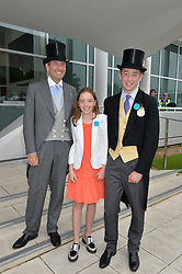 Left to right, ROGER WEATHERBY, WILLOW WEATHERBY and HARRY WEATHERBY at the Investec Derby at Epsom Racecourse, Epsom, Surrey on 4th June 2016.