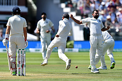 India's Mohammed Shami celebrates taking the wicket of England captain Joe Root during day three of the Specsavers Second Test match at Lord's, London.