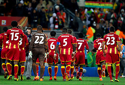 Players of Ghana during the  2010 FIFA World Cup South Africa Quarter Finals football match between Uruguay and Ghana on July 02, 2010 at Soccer City Stadium in Sowetto, suburb of Johannesburg. Uruguay defeated Ghana after penalty shots. (Photo by Vid Ponikvar / Sportida)