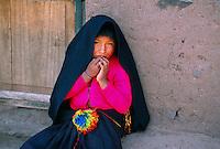 Quechua Indian girl, Taquile Island, Lake Titicaca, Peru