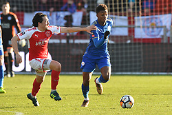 Fleetwood Towns' Markus Schwabl and Leicester City's Demarai Gray battle for the ball
