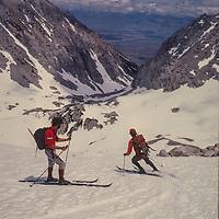 John Fischer & Allan Pietrasanta ski the Mount Humphreys Glacier in the Sierra Nevada above Bishop, CA
