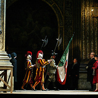 Tosca  by Giacomo Puccini- Scottish Opera Dress Rehearsal. Pictured -  Matthew Best as Scarpia (far left). Directed by Aidan Lang. Performances of Tosca kick off with eight dates at The Theatre Royal Glasgow beginning Friday 5th November. A further 6 dates at The Festival Theatre Edinburgh starting Tuesday 30th November. © Drew Farrell . (Drew Farrell  07721- 735041 ) . Scottish Opera Contact : Press Manager Libby Jones Tel 0141 242-0511. Note to Editors:  This image is free to be used editorially in the promotion of the forthcoming production. Without prejudice ALL other licences without prior consent will be deemed a breach of copyright under the 1988. Copyright Design and Patents Act  and will be subject to payment or legal action, where appropriate.