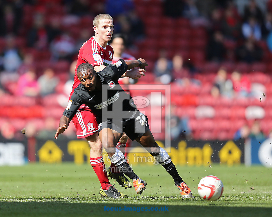 Picture by Paul Gaythorpe/Focus Images Ltd +447771 871632.27/04/2013.Callum Harriott of Charlton Athletic and Grant Leadbitter of Middlesbrough during the npower Championship match at the Riverside Stadium, Middlesbrough.