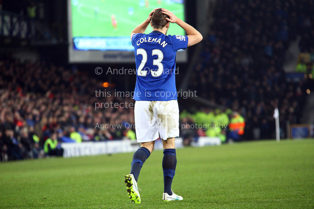 Seamus Coleman of Everton reacts when he gets  a poor cross. Barclays Premier league match, Everton v Liverpool at Goodison Park in Liverpool, Merseyside on Saturday 7th February 2015<br /> pic by Chris Stading, Andrew Orchard sports photography.