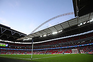 a General view of inside Wembley Stadium as both teams warm up before k/o. UEFA Champions league match, group E, Tottenham Hotspur v AS Monaco at Wembley Stadium in London on Wednesday 14th September 2016.<br /> pic by John Patrick Fletcher, Andrew Orchard sports photography.