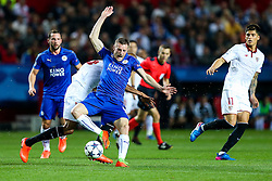 Jamie Vardy of Leicester City is fouled by Mariano of Sevilla - Rogan Thomson/JMP - 22/02/2017 - FOOTBALL - Estadio Ramon Sanchez Pizjuan - Seville, Spain - Sevilla FC v Leicester City - UEFA Champions League Round of 16, 1st Leg.
