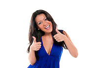 Portrait of young brunette gesturing OK thumbs up isolated white.