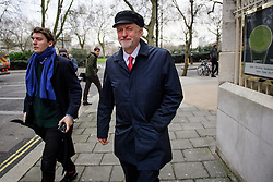 "© Licensed to London News Pictures. 10/01/2017. London, UK. Labour Party leader JEREMY CORBYN and JAMES SCHNEIDER of Momentum (left) seen leaving Milbank Studios in London after a television interview. Corbyn is due to give a speech on Brexit later today, arguing that the UK ""can be better off"" after leaving the EU. Photo credit: Ben Cawthra/LNP"
