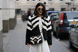 Blogger Anisa Sojka arrives at the Julien Macdonald Autumn / Winter 2017 London Fashion Week show at Goldsmiths Hall, London on Saturday February 18, 2017