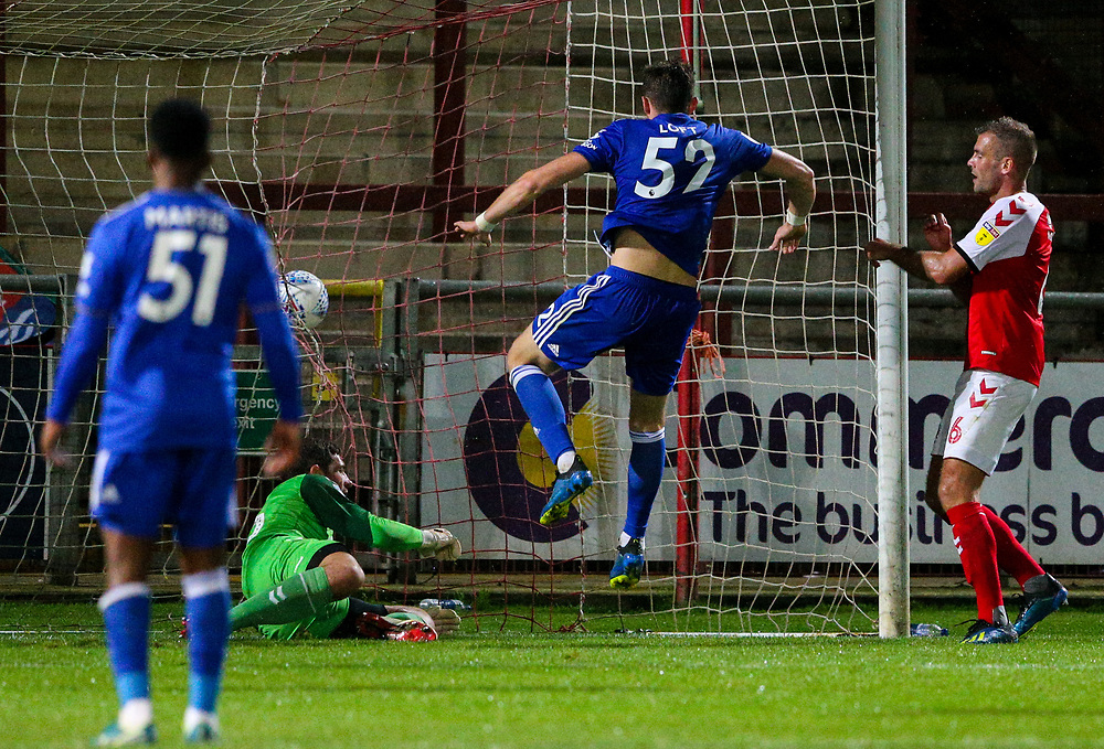 Leicester City U21s' Ryan Loft scores the equalising goal deep into injury time<br /> <br /> Photographer Alex Dodd/CameraSport<br /> <br /> The EFL Checkatrade Trophy - Northern Group B - Fleetwood Town v Leicester City U21 - Tuesday September 11th 2018 - Highbury Stadium - Fleetwood<br />  <br /> World Copyright © 2018 CameraSport. All rights reserved. 43 Linden Ave. Countesthorpe. Leicester. England. LE8 5PG - Tel: +44 (0) 116 277 4147 - admin@camerasport.com - www.camerasport.com