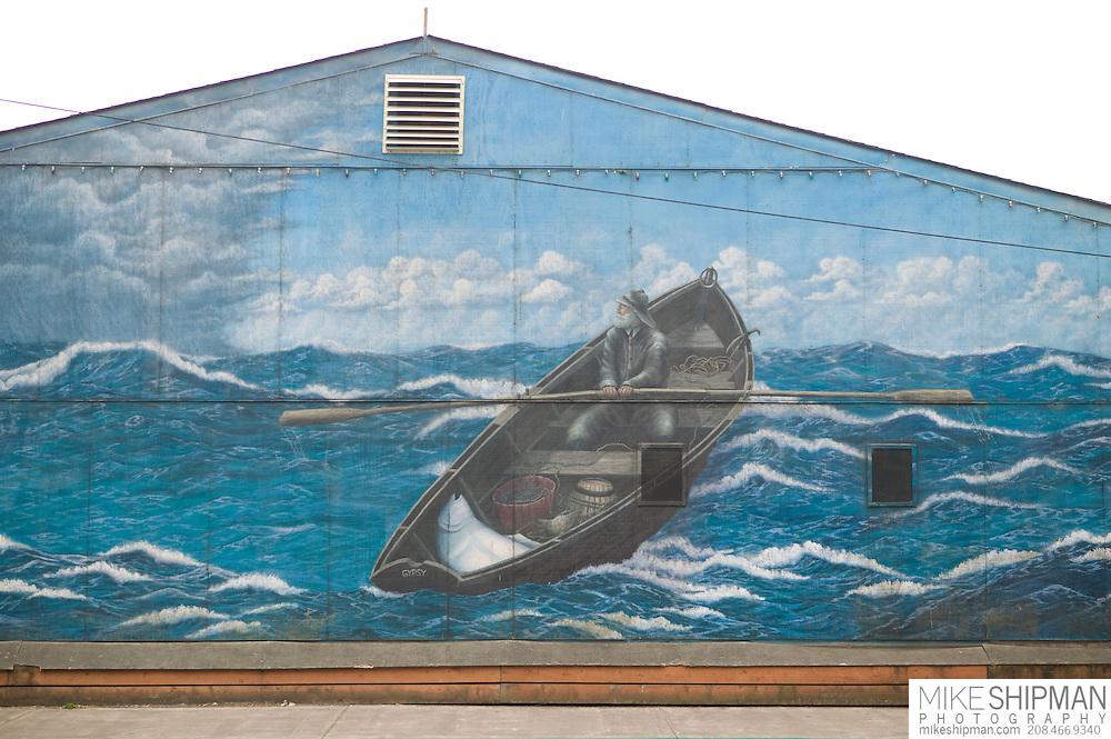 Painted wall murals, Yaquina bay front