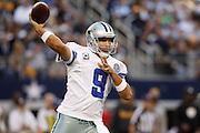 Dallas Cowboys quarterback Tony Romo (9) throws a pass down the field against the Pittsburgh Steelers at Cowboys Stadium in Arlington, Texas, on December 16, 2012.  (Stan Olszewski/The Dallas Morning News)