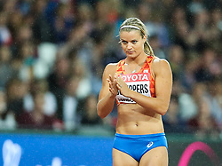 London, August 11 2017 . Eventual winner Dafne Schippers, Netherlands, at the start of the  women's 200m final on day eight of the IAAF London 2017 world Championships at the London Stadium. © Paul Davey.