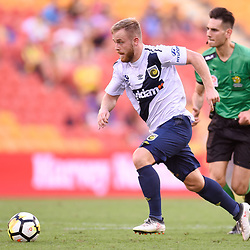 BRISBANE, AUSTRALIA - MARCH 31: Connor Pain of the Mariners in action during the Round 25 Hyundai A-League match between Brisbane Roar and Central Coast Mariners on March 31, 2018 in Brisbane, Australia. (Photo by Patrick Kearney / Brisbane Roar FC)