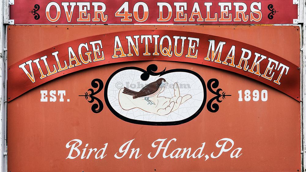 Sign for antique market, Bird in Hand, Pennsylvania, USA