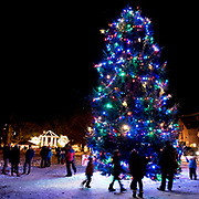 BRUNSWICK, Maine  11/24/18 -- Brunswick's tree was lit up by Santa at the tree lighting event on Saturday.  <br /> Photo by Roger S. Duncan for the Forecaster