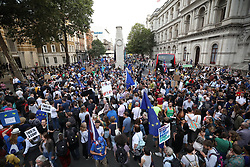 © Licensed to London News Pictures. 28/08/2019. London, UK. Anti Brexit Protestors gather in Whitehall and outside Downing Street. Earlier it emerged that The Queen will be asked by the government to suspend Parliament in the days after MPs return to work in September - a few weeks before the Brexit deadline of October 31st. Photo credit: Peter Macdiarmid/LNP