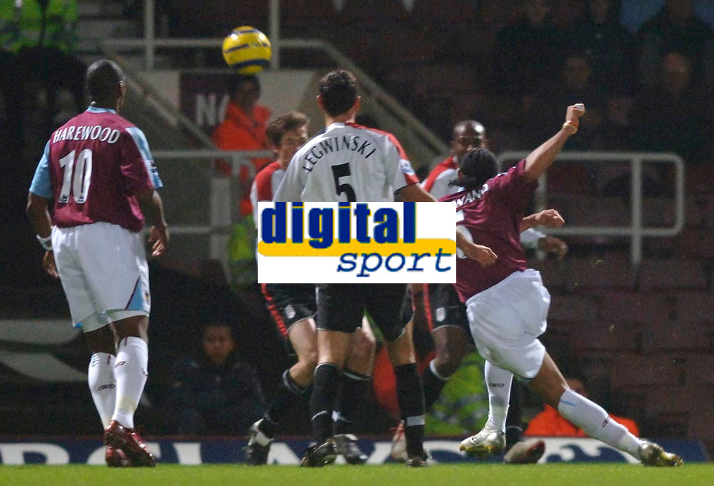 Photo: Daniel Hambury.<br />West Ham United v Fulham. The Barclays Premiership. 23/01/2006.<br />West Ham's Anton Ferdinand scorews to make it 1-0.