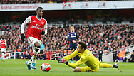 West Ham's goalkeeper Lukasz Fabianski gathers the ball ahead of Arsenal's Eddie Nketiah during the Premier League match at the Emirates Stadium, London. Picture date: 7th March 2020. Picture credit should read: Paul Terry/Sportimage