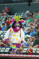 11 August 2012:  Reggie the Purple Party Dude becomes Relvis during a Frontier League Baseball game between the River City Rascals and the Normal CornBelters at Corn Crib Stadium on the campus of Heartland Community College in Normal Illinois.  The CornBelters take this game in 9 innings 7 - 2 with a 5 run 2nd inning.