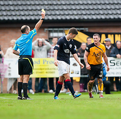 Falkirk's Stewart Murdoch booked..Annan Athletic 0 v 3 Falkirk. Semi Final of the Ramsdens Cup, 9/10/2011..Pic © Michael Schofield.