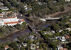 January 10, 2018 - Montecito, California, U.S. - Aerial over mud filled Hwy 101 and Olive Mill Roace behind Montecito Inn, Santa Barbara. (Credit Image: © Santa Barbara News-Press via ZUMA Wire)