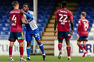 Ipswich Town defender Luke Chambers (4) and Bristol Rovers defender David Tutonda (24) shake hands at the end of the EFL Sky Bet League 1 match between Bristol Rovers and Ipswich Town at the Memorial Stadium, Bristol, England on 19 September 2020.