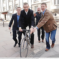 22 February 2007; Hurling All Star & Clare player Tony Griffin today announced he will undertake a 7000km charity cycle dubbed 'Cycle for the Cure' across Canada and Ireland to raise funds for the Tony Griffin Foundation, Irish Cancer Society, and the Lance Armstrong Foundation. At a photocall to launch the cycle is Tony Griffin with Clare team-mates Gerry Quinn, left, Diarmaid McMahon, right, and sponsor Martin Donnelly. Westbury Hotel, Dublin. Picture credit: Brian Lawless / SPORTSFILE