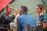 Make up is important for everyone - The 2017 Glastonbury Festival, Worthy Farm. Glastonbury, 2 June 2017