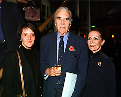 Left to right, MISS CHRISTINA LEE and her parents MR & MRS CHRISTOPHER LEE, he is the actor, at a party in London on 8th November 1999.MYS 56