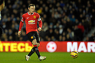 Wayne Rooney, the Manchester United captain passing the ball. Barclays Premier league match, Queens Park Rangers v Manchester Utd at Loftus Road in London on Saturday 17th Jan 2015. pic by John Patrick Fletcher, Andrew Orchard sports photography.