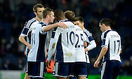 Victor Anichebe celebrates his goal during the The FA Cup match between West Bromwich Albion and Gateshead at The Hawthorns, West Bromwich, England on 3 January 2015. Photo by Alan Franklin.
