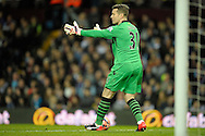 Goalkeeper Shay Given of Aston Villa giving directions to his players. The FA cup, 6th round match, Aston Villa v West Bromwich Albion at Villa Park in Birmingham, Midlands on Saturday 7th March 2015<br /> pic by John Patrick Fletcher, Andrew Orchard sports photography.