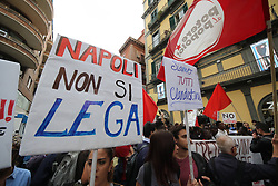 Italy, Naples - October 2, 2018.Protest demonstration against the visit of the Italian Interior Minister Matteo Salvini in Naples (Credit Image: © Napoli/Giacomino/Ropi via ZUMA Press)
